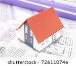 model house and blueprints   Shutterstock . vector #726110746