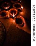 happy diwali   hand holding or... | Shutterstock . vector #726113506