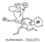 outlined business woman running ... | Shutterstock . vector #72611371