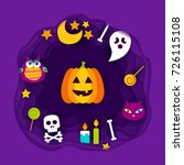 happy halloween paper cut.... | Shutterstock .eps vector #726115108