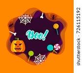 halloween boo papercut concept. ... | Shutterstock .eps vector #726115192
