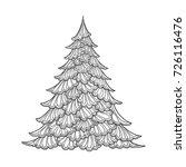 Christmas Tree. Contour Drawin...