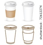 coffee cups outlines and... | Shutterstock .eps vector #72612274