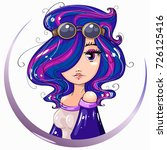 steampunk style cute girl... | Shutterstock .eps vector #726125416