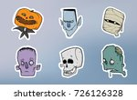 halloween sticker pack. zombie  ... | Shutterstock .eps vector #726126328