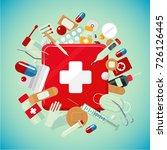 medical equipment and drugs.... | Shutterstock .eps vector #726126445