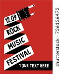 rock music poster with hand.... | Shutterstock .eps vector #726126472