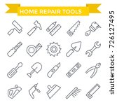 tools icon set  line flat design | Shutterstock .eps vector #726127495