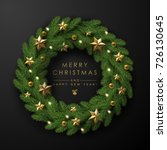 christmas wreath made of... | Shutterstock .eps vector #726130645
