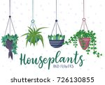 hanging house plants and... | Shutterstock .eps vector #726130855