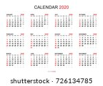calendar 2020 year simple style.... | Shutterstock .eps vector #726134785