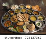 huge dinner plate filled with... | Shutterstock . vector #726137362