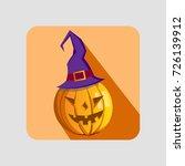 angry happy halloween pumpkin.... | Shutterstock .eps vector #726139912