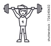 strong athlete with weights... | Shutterstock .eps vector #726140632