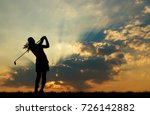 silhouette golfer playing golf... | Shutterstock . vector #726142882