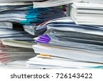 paper documents stacked in... | Shutterstock . vector #726143422