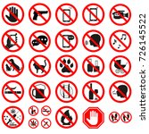 prohibition signs on white... | Shutterstock .eps vector #726145522