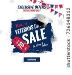 happy veterans day sale banner. ... | Shutterstock .eps vector #726148312