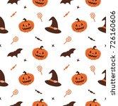 halloween pumpkin witch hat...   Shutterstock .eps vector #726160606