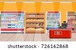 supermarket store interior with ... | Shutterstock .eps vector #726162868