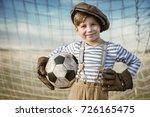 portrait of a young goalkeeper... | Shutterstock . vector #726165475