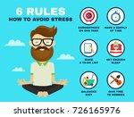 6 rules to avoid stress... | Shutterstock .eps vector #726165976