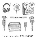 retro media. microphones  reel... | Shutterstock .eps vector #726168685