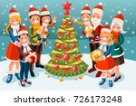 christmas family in snow night... | Shutterstock . vector #726173248