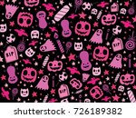 pink halloween pattern  vector... | Shutterstock .eps vector #726189382