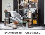 outdoor new year decoration... | Shutterstock . vector #726195652