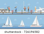 yacht club set. boats on the... | Shutterstock .eps vector #726196582