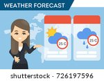 tv weather forecast. fmale... | Shutterstock .eps vector #726197596
