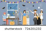 halloween party at office.... | Shutterstock .eps vector #726201232