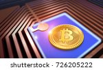 bitcoin cryptocurrency on a... | Shutterstock . vector #726205222