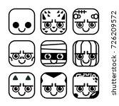 vector set of cute monster... | Shutterstock .eps vector #726209572