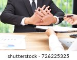 businessman says no or hold on... | Shutterstock . vector #726225325