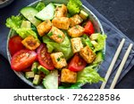 fried tofu salad with cucumbers ... | Shutterstock . vector #726228586
