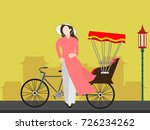 vietnamese girl and tricycle... | Shutterstock .eps vector #726234262