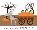 donkey pulling pumpkin wagon...   Shutterstock .eps vector #726241315