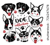 dog collection. vector hand... | Shutterstock .eps vector #726247678