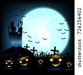 halloween pumpkins and dark... | Shutterstock .eps vector #726256402