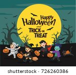 children dressed in halloween... | Shutterstock .eps vector #726260386