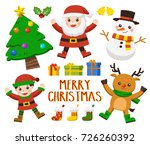 set of happy merry christmas.... | Shutterstock .eps vector #726260392