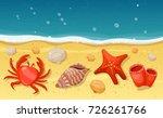 summer beach with sea shells ...   Shutterstock .eps vector #726261766