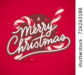 merry christmas  hand lettering ... | Shutterstock .eps vector #726263188