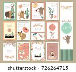 colorful cute monthly calendar... | Shutterstock .eps vector #726264715