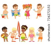 cute kid toons on the beach... | Shutterstock .eps vector #726272152