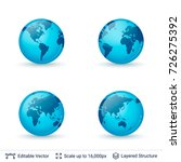 world map set. earth globe with ...   Shutterstock .eps vector #726275392