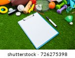 various sport tools on grass | Shutterstock . vector #726275398