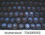 collection of skulls covered... | Shutterstock . vector #726285052